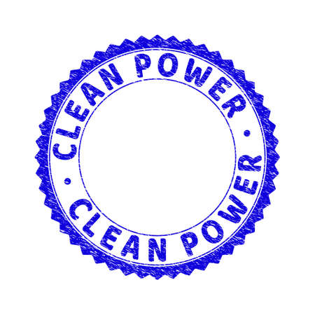 Grunge CLEAN POWER round rosette stamp seal. Copy space inside circle. Vector blue rubber imitation of CLEAN POWER caption inside round rosette. Stamp seal with scratched texture. Vecteurs