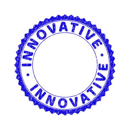 Grunge INNOVATIVE round rosette stamp. Empty space inside circle. Vector blue rubber imitation of INNOVATIVE label inside round rosette. Stamp seal with grunge texture.