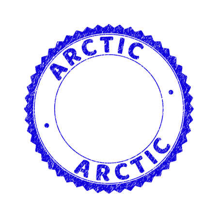 Grunge ARCTIC round rosette stamp seal. Empty space inside circle. Vector blue rubber overlay of ARCTIC tag inside round rosette. Stamp seal with corroded texture.