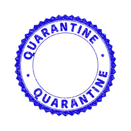 Grunge QUARANTINE round rosette stamp seal. Empty space inside circle. Vector blue rubber imitation of QUARANTINE title inside round rosette. Stamp seal with corroded style.