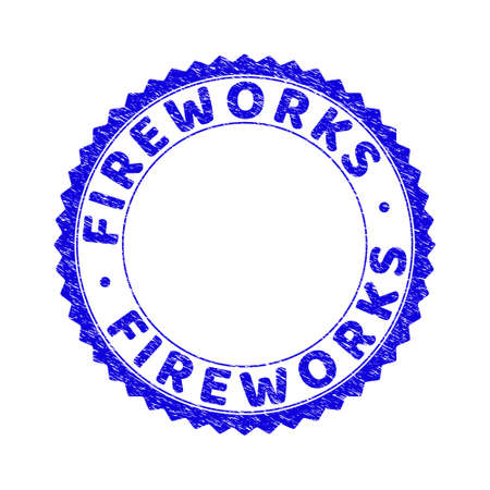 Grunge FIREWORKS round rosette stamp seal. Empty space inside circle. Vector blue rubber overlay of FIREWORKS label inside round rosette. Stamp seal with retro texture.