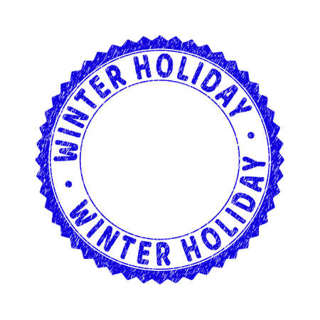 Grunge WINTER HOLIDAY round rosette stamp seal. Copy space inside circle. Vector blue rubber overlay of WINTER HOLIDAY tag inside round rosette. Stamp seal with grunge style.