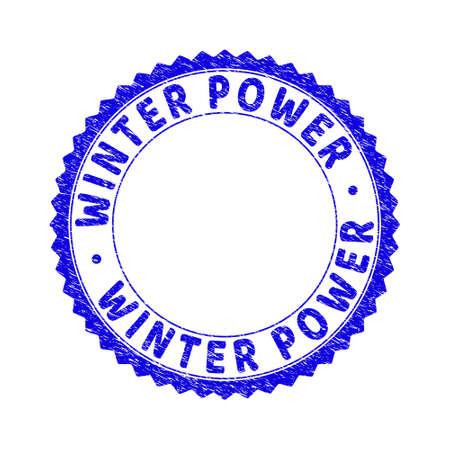 Grunge WINTER POWER round rosette stamp seal. Copy space inside circle. Vector blue rubber imitation of WINTER POWER label inside round rosette. Stamp seal with retro texture.
