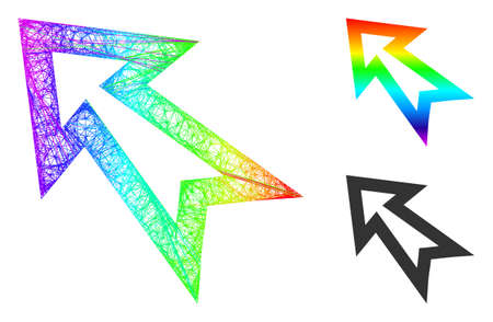 Rainbow colorful network arrow left up, and solid rainbow gradient arrow left up icon. Linear frame flat network geometric image based on arrow left up icon, generated from crossing lines.
