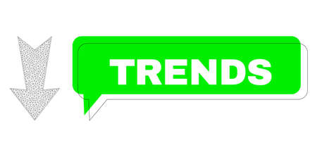 Shifted Trends green message balloon and arrow down mesh model. Vector flat arrow down, designed with flat mesh. Green conversation contains Trends caption inside black frame, and color bubble.
