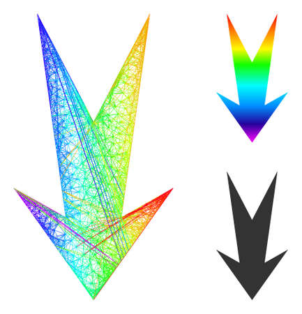 Spectral colored wire frame arrow down, and solid spectral gradient arrow down icon. Wire frame 2D network geometric image based on arrow down icon, generated from crossed lines.