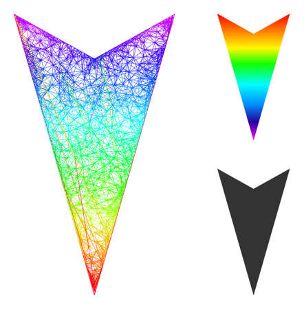 Spectral vibrant net arrowhead down, and solid spectral gradient arrowhead down icon. Linear carcass flat net abstract image based on arrowhead down icon, created with crossing lines.
