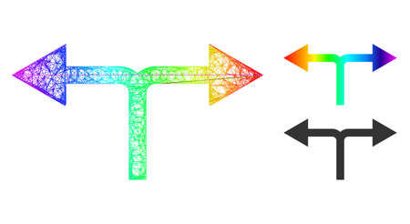 Rainbow colorful wire frame bifurcation arrows left right, and solid rainbow gradient bifurcation arrows left right icon.