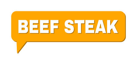Speech BEEF STEAK Colored Cloud Frame. BEEF STEAK text is located inside colored speech balloon with shadow. Vector quote label inside message frame.