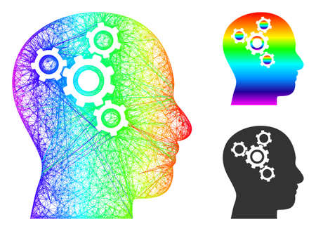 Rainbow colored wire frame brain mechanics, and solid rainbow gradient brain mechanics icon. Linear frame 2D network abstract image based on brain mechanics icon, is created with crossing lines. Vectores