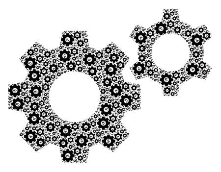 Recursive collage of gears. Flat vector gears collage is made of random self gears icons.