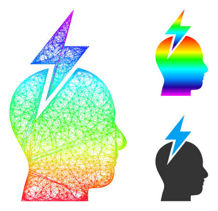 Spectrum vibrant network headache, and solid spectrum gradient headache icon. Crossed carcass 2D network geometric image based on headache icon, is created from crossing lines.