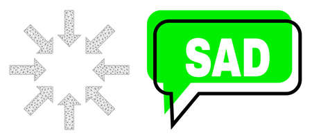 Misplaced Sad green text frame and collapse arrows mesh composition. Vector 2d collapse arrows, designed with flat mesh. Green conversation contains Sad text inside black frame, and colored banner.