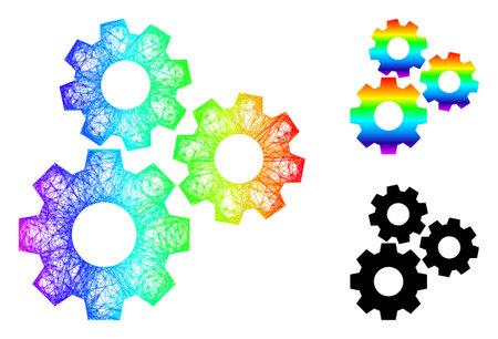 Spectrum vibrant crossing mesh gear mechanism, and solid spectrum gradient gear mechanism icon. Crossed frame 2D network geometric symbol based on gear mechanism icon,
