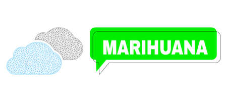 Misplaced Marihuana green message cloud and clouds mesh structure. Vector 2d clouds, designed with flat mesh. Green conversation has Marihuana text inside black frame, and colored cloud.