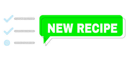 Misplaced New Recipe green chat speech shape and checklist mesh composition. Vector flat checklist, designed with flat mesh. Green conversation contains New Recipe caption inside black frame,