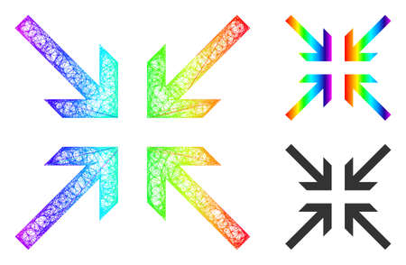 Spectrum colorful net mesh collide arrows, and solid spectrum gradient collide arrows icon. Linear carcass flat net abstract image based on collide arrows icon, is made with crossed lines.