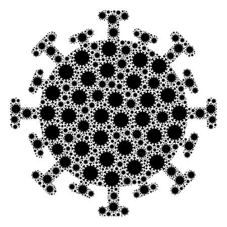 Repeating mosaic of contagious virus. Flat vector contagious virus mosaic is designed of random itself contagious virus items.