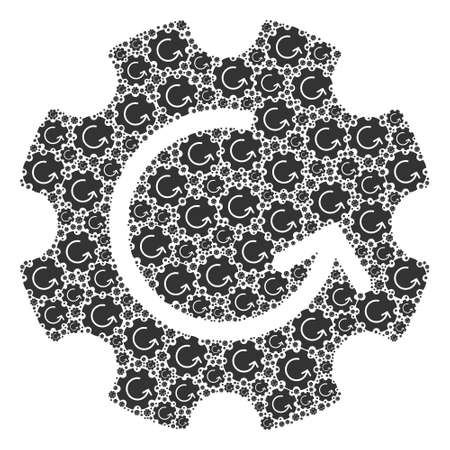 Recursion mosaic of gear rotation. Flat vector gear rotation mosaic is formed from randomized itself gear rotation elements.