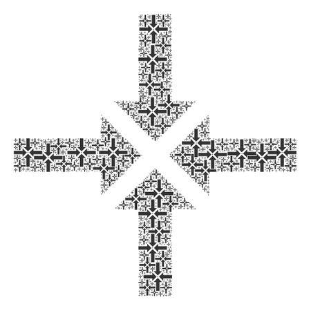 Recursive composition for compress arrows. Flat vector compress arrows composition is done from random recursive compress arrows elements. Иллюстрация