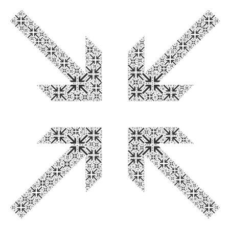Recursive composition for collide arrows. Flat vector collide arrows composition is made from random recursive collide arrows items.