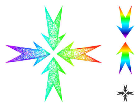 Rainbow colorful network compression arrows, and solid rainbow gradient compression arrows icon. Linear carcass flat network abstract image based on compression arrows icon, Vecteurs