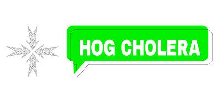 Shifted Hog Cholera green chat balloon and compression arrows mesh structure. Vector 2d compression arrows, built from flat mesh. Green chat includes Hog Cholera tag inside black frame, Ilustração