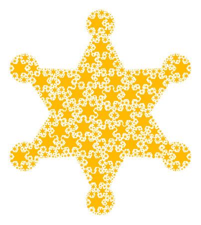 Recursive composition of sheriff star. Flat vector sheriff star composition is composed of repeating self sheriff star elements.