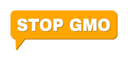 Speech STOP GMO Colored Bubble Frame. STOP GMO caption is located inside colored bubble with shadow. Vector quote caption inside forum frame.