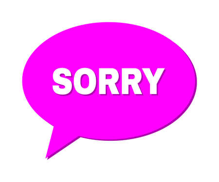 Speech SORRY Colored Cloud Frame. SORRY label is located inside colored speech balloon with shadow. Vector quote caption inside message frame.