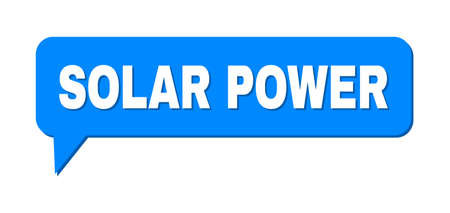 Speech SOLAR POWER Colored Bubble Frame. SOLAR POWER text is located inside colored bubble with shadow. Vector quote text inside chat frame. Çizim