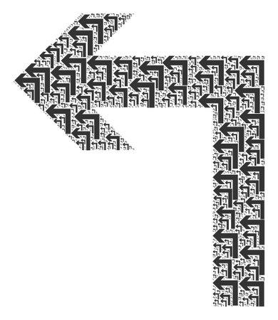 Recursive mosaic of turn left. Flat vector turn left mosaic is made of random itself turn left items.