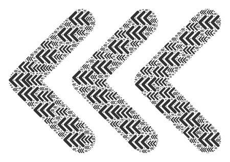 Recursive collage of triple arrowhead left. Flat vector triple arrowhead left mosaic is made of randomized recursive triple arrowhead left icons.