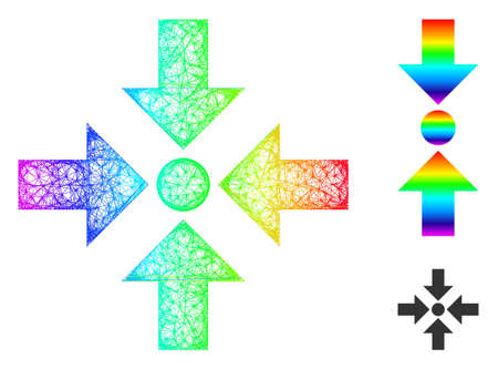 Spectrum colored wire frame shrink arrows, and solid rainbow gradient shrink arrows icon. Crossed frame flat network abstract symbol based on shrink arrows icon, is made with crossed lines.