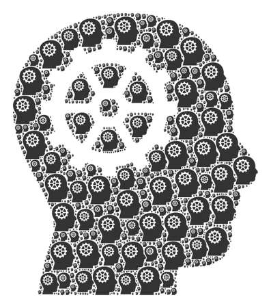 Repeating composition for intellect. Flat vector intellect composition is designed with random itself intellect pictograms. Vektoros illusztráció