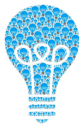 Recursion collage of lamp bulb. Flat vector lamp bulb collage is organized of randomized itself lamp bulb elements.