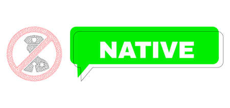 Misplaced Native green text speech shape and no police officer mesh model. Vector 2d no police officer, designed with flat mesh. Green speech has Native title inside black frame, and color area.