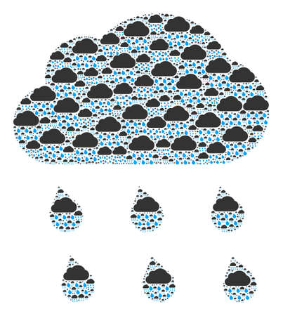 Repeating composition for rain cloud. Flat vector rain cloud composition is made with repeating self rain cloud elements.