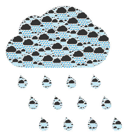 Recursion composition of rain cloud. Flat vector rain cloud abstraction is composed of scattered itself rain cloud pictograms.