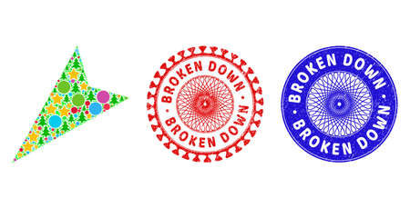 Arrowhead left-down composition of Christmas symbols, such as stars, fir-trees, color circles, and BROKEN DOWN textured stamp seals. Vector BROKEN DOWN imprints uses guilloche ornament,