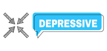 Chat Depressive blue cloud message and wire frame center arrows. Frame and colored area are misplaced for Depressive label, which is located inside blue colored banner.
