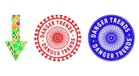 Arrow down mosaic of New Year symbols, such as stars, fir-trees, bright circles, and DANGER TRENDS rubber stamp seals. Vector DANGER TRENDS stamp seals uses guilloche ornament,