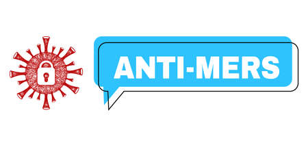 Speech Anti-Mers blue cloud message and wire frame coronavirus lockdown. Frame and colored area are misplaced for Anti-Mers phrase, which is located inside blue colored speech balloon.