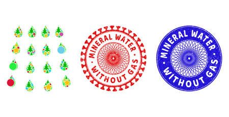 Drops composition of New Year symbols, such as stars, fir trees, color balls, and MINERAL WATER WITHOUT GAS corroded stamp seals. Vector MINERAL WATER WITHOUT GAS stamp seals uses guilloche pattern,
