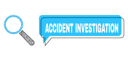 Chat Accident Investigation blue bubble frame and wire frame search tool. Frame and colored area are shifted for Accident Investigation text, which is located inside blue colored bubble. Ilustrace