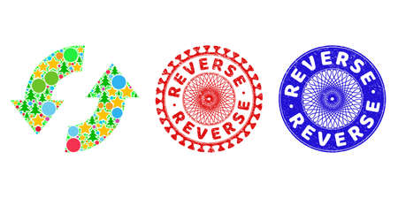 Exchange arrows mosaic of Christmas symbols, such as stars, fir-trees, color spheres, and REVERSE rough stamp seals. Vector REVERSE stamp seals uses guilloche pattern, designed in red and blue colors. Vektorové ilustrace