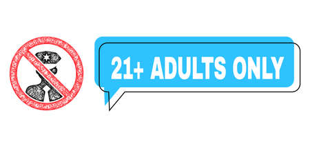 Conversation 21+ Adults Only blue bubble frame and wire frame stop policeman. Frame and colored area are shifted for 21+ Adults Only label, which is located inside blue colored banner.