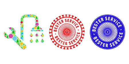 Plumbing composition of New Year symbols, such as stars, fir trees, colored balls, and BESTER SERVICE unclean stamps. Vector BESTER SERVICE stamp seals uses guilloche ornament,