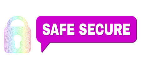 Safe Secure and locked vector. Spectral colored network locked, and speech Safe Secure cloud frame. Speech colored Safe Secure cloud has shadow.