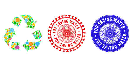 Recycle composition of Christmas symbols, such as stars, fir-trees, color circles, and FOR SAVING WATER corroded stamp prints. Vector FOR SAVING WATER stamp seals uses guilloche pattern,